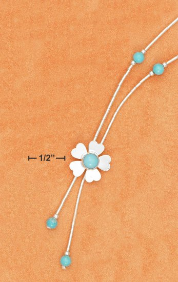"""STERLING SILVER 16""""  4MM TURUOISE BEAD Y-NECKLACE"""