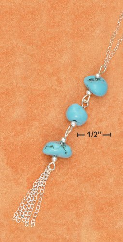 """STERLING SILVER 17"""" CABLE CHAIN """"Y"""" NECKLACE W/ TURQUOISE NUGGETS & CABLE TASSLE"""