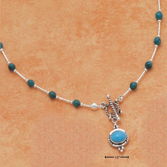 """STERLING SILVER 16"""" LIQUID SILVER W/ SEVENTEEN TURQUOISE BEADS & TOGGLE TURQU PENDANT"""