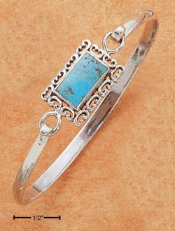 STERLING SILVER TURQUOISE RECT  W/SCROLL BORDER BANGLE BRACELET