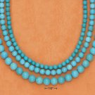 STERLING SILVER 3 STRAND TURQUOISE BEAD NECKLACE