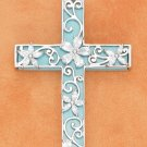 STERLING SILVER 20 INCH  TURQUOISE FILIGREE CROSS NECKLACE W/CZ FLOWERS OVERLAY