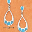 STERLING SILVER TEARDROP POST DANGLE W/ TURQUOISE INLAY
