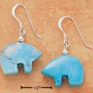 STERLING SILVER TURQUOISE FETISH BEAR FW EARRINGS