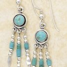 STERLING SILVER ROUND DOT TURQUOISE EARRINGS W/ TRIPLE HESHI DROPS