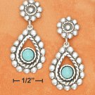 STERLING SILVER FLOWER POST W/ BEADED EDGES & TURQUOISE STONE DANGLE EARRINGS