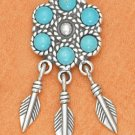 STERLING SILVER LARGE TURQUOISE FLOWER POST W/ SILVER FEATHERS DANGLE EARRINGS