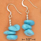 STERLING SILVER TRIPLE LARGE TURQUOISE NUGGET  EARRINGS