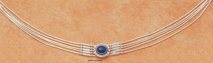 "STERLING SILVER 15-1/2"" STRAND LIQUID SILVER CHOKER NECKLACE W/ OVAL LAPIS & BARS"