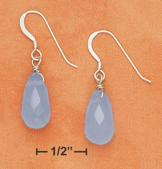 STERLING SILVER 7X15 SYN LIGHT BLUE CHALCEDONY BRIOLETTE EARRINGS