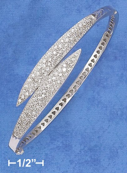 STERLING SILVER CLEAR CZ BYPASS HINGED BANGLE BRACELET