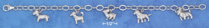 """STERLING SILVER RP 7"""" OVAL LINK ASSORTED PUPPIES CHARM BRACELET"""