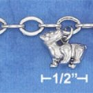 "STERLING SILVER RP 7"" OVAL LINK ASSORTED PUPPIES CHARM BRACELET"