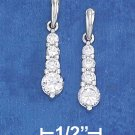STERLING SILVER  CZ POST DANGLE EARRING W/ UPSIDE DOWN TEAR POST