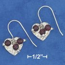 STERLING SILVER 13MM HAMMERED HEART EARRINGS  W/  GARNET DANGLE BEADS