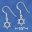 STERLING SILVER DAINTY 8MM STAR OF DAVID FRENCH WIRE EARRINGS
