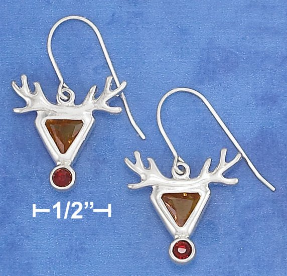 STERLING SILVER CZ REINDEER W/ RED NOSE F W EARRINGS