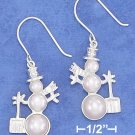 STERLING SILVER HP 26MM TRIPLE PEARL SNOWMAN EARRINGS