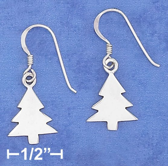 STERLING SILVER 12X13MM HIGH POLISH CHRISTMAS TREE  EARRINGS