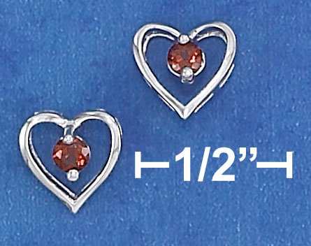 STERLING SILVER  OPEN HEART W/ 3MM GARNET POST EARRINGS