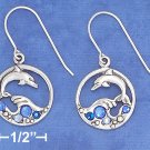 STERLING SILVER DOLPHIN JUMPING OUT OF WAVES W/ BLUE CRYSTALS  EARRINGS