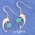 STERLING SILVER HP DOLPHIN EARRING W/  TURQUOISE CABOCHON