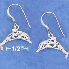 STERLING SILVER SATIN DC 19MM LONG FILIGREE DOLPHIN EARRING ON FRENCH WIRE