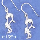 STERLING SILVER HP DC 10X19MM FLAT KISSING DOLPHINS EARRINGS