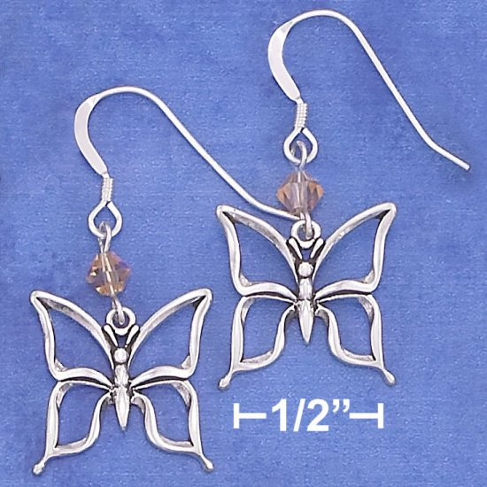 STERLING SILVER OPEN BUTTERFLY EARRING W/ ORANGE SWAROVSKI XTAL ON FRENCH WIRE