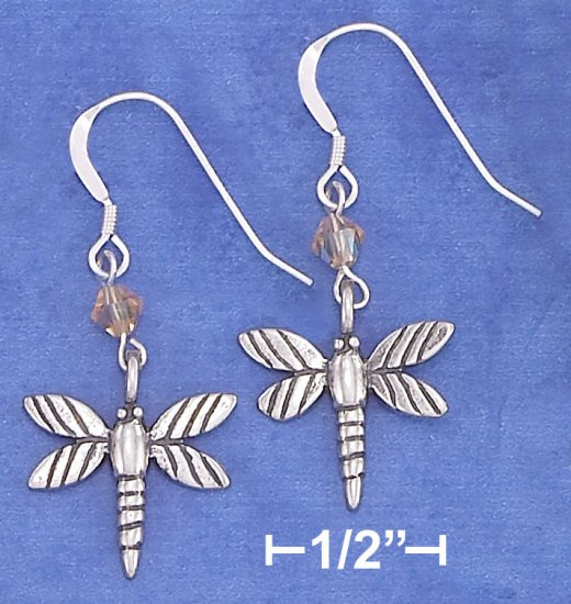 STERLING SILVER ANTIQUED DRAGONFLY EARRINGS WITH ORANGE SWAROVSKI CRYSTAL