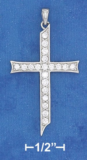 """STERLING SILVER RP 18"""" CABLE NECKLACE WITH CZ CROSS PENDANT"""