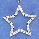 STERLING SILVER CURB NECKLACE W/ CZ STAR PENDANT ADJ 18-20""
