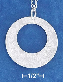 "STERLING SILVER 18"" PENDANT CHAIN W/ LASER ETCHED FAT BOTTOM CIRCLE PENDANT"