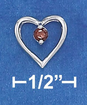 """STERLING SILVER RP 18"""" CABLE CHAIN W/  OPEN HEART & 3MM GARNET NECKLACE"""
