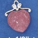 "STERLING SILVER 16""-18"" RHODONITE HEART NECKLACE"