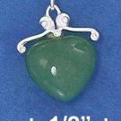 "STERLING SILVER 16""-18""GREEN AVENTURINE HEART NECKLACE"