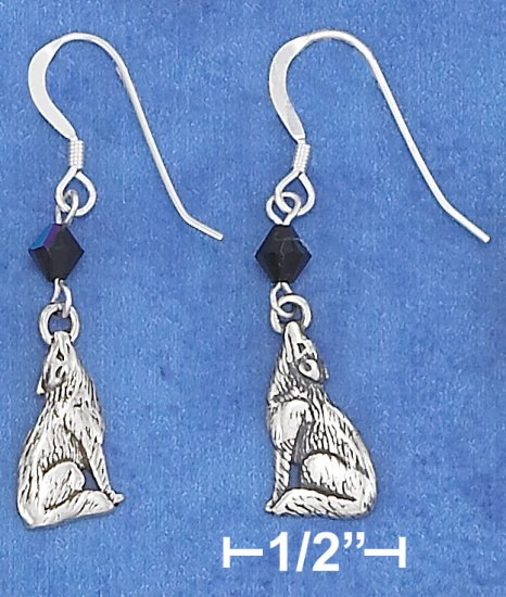 STERLING SILVER ANTIQUED WOLF EARRING