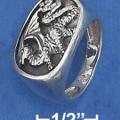STERLING SILVER MEN'S OVAL DRAGON SIGNET RING .