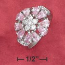 STERLING SILVER FLOWER RING WITH TEAR SHAPE PINK ICE   PETALS