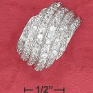 STERLING SILVER RHODIUM PLATED 15MM WIDE TAPERED PAVE  WAVE LINED DOME RING.