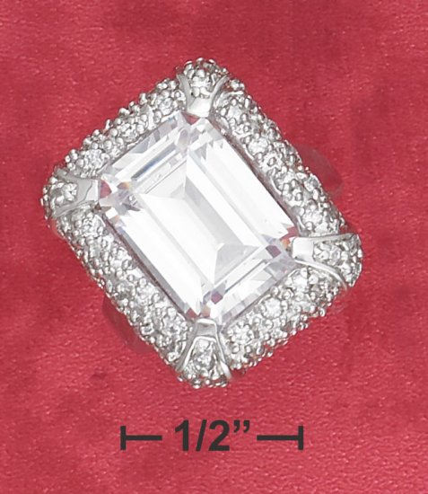 STERLING SILVER  PAVE CZ FRAMED 9 CT  EMERALD CUT CZ COCKTAIL RING .
