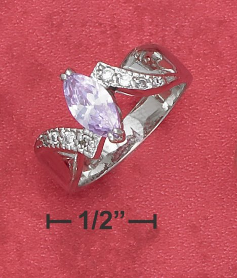 STERLING SILVER RHODIUM PLATED 5X9MM LAVENDER MARQUISE CZ RING WITH PAVE ACCENTS .