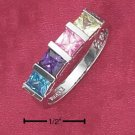 STERLING SILVER   TENSION SET RAINBOW PRINCESS CUT CZRING.
