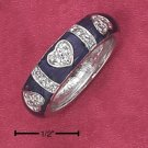 STERLING SILVER PURPLE ENAMEL BAND W/ PAVE CZ INVERTED HEARTS AND STRIPES.