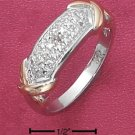 "STERLING SILVER  PAVE DIAMOND ACCENT BAND WITH GOLD ""X""'S."