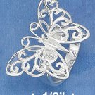 STERLING SILVER HIGH POLISH LARGE OPEN BUTTERFLY RING.