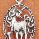 STERLING SILVER FANCY OVAL SCROLLED UNICORN CHARM