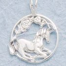 STERLING SILVER DC UNICORN W/IN CIRCLE CHARM