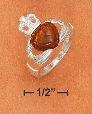 STERLING SILVER CLADDAGH RINGW/ HONEY AMBER HEART .