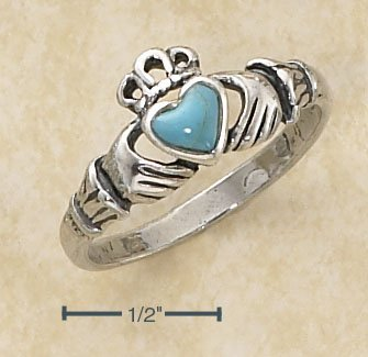 STERLING SILVER SMALL ANTIQUED CLADDAGH RING W/ TURQUOISE HEART